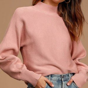 Blush Pink Mock Neck Sweater